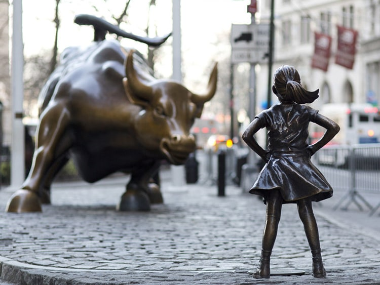 Bull and Girl Statues